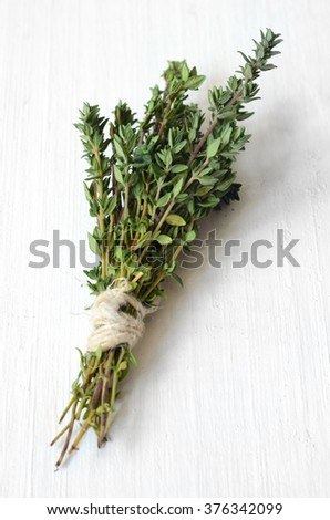 Bunch of fresh thyme, this aromatic herb is often used in cooking.