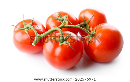 Bunch of fresh tomatoes isolated on white