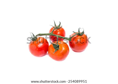 Bunch of fresh tomatoes with water drops. Isolated on white background - stock photo