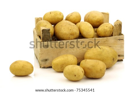 bunch of freshly harvested potatoes in a wooden box and some beside it on a white background - stock photo