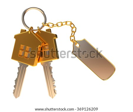 Bunch of golden house-shape keys with blank label isolated on white background  - stock photo