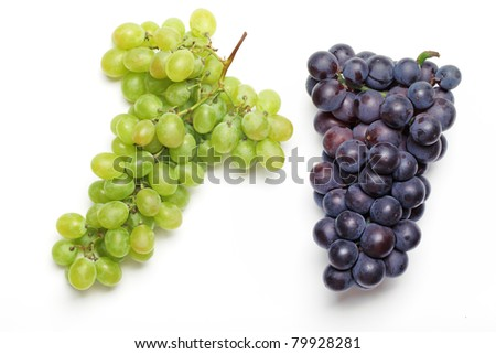 Bunch of grapes isolated on white background.