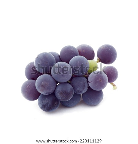Bunch of grapes isolated on white background. Bunch of grapes close-up. - stock photo