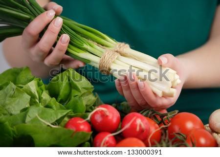 Bunch of green onion. Farmers' market - stock photo