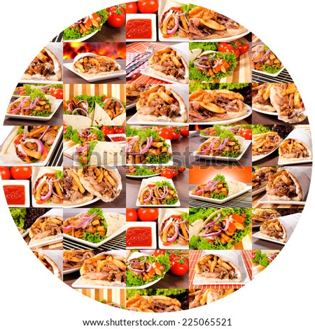Bunch of gyros in circle isolated on white backgrouns - stock photo
