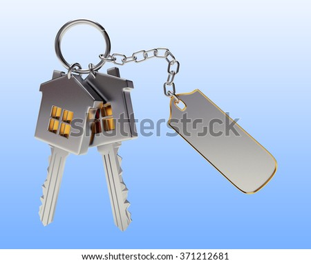 Bunch of house-shape keys with blank label on blue background  - stock photo