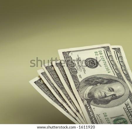 Bunch of hundred dollar bills. - stock photo