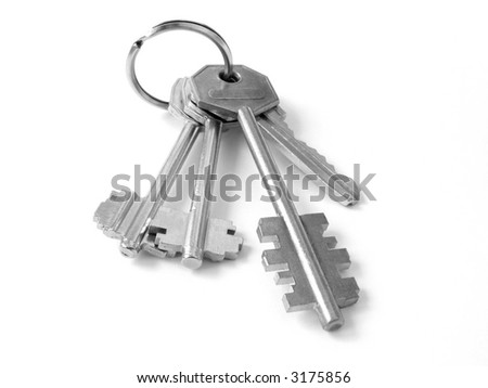 bunch of keys from door locks on the white background