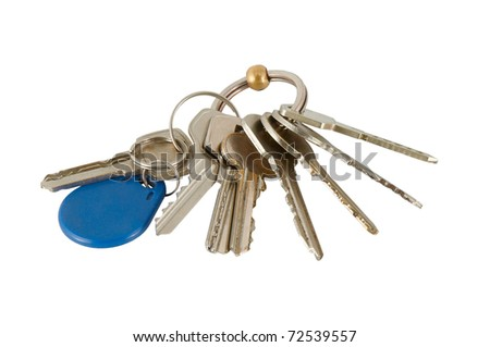 Bunch of keys isolated on a white background - stock photo