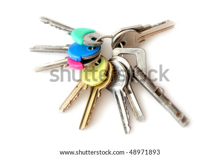 Bunch of keys isolated over white background - stock photo