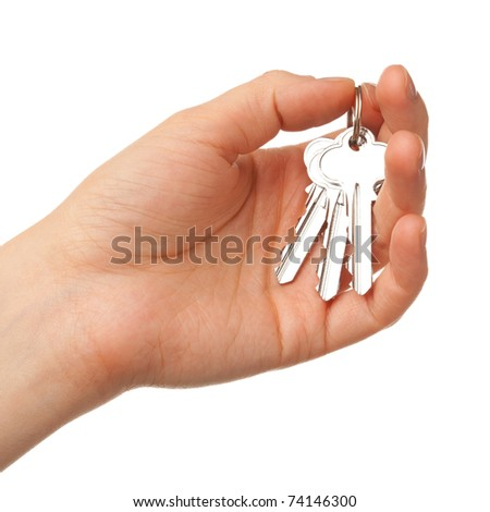 bunch of keys on the palm - stock photo