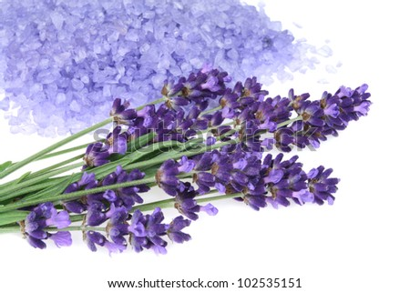 Bunch of lavender and  bath salt - beauty treatment