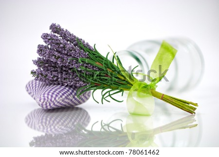 Bunch of lavender flower on an aromatic pillow with a reflection - stock photo