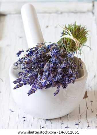 Bunch of lavender flowers and white mortar. - stock photo