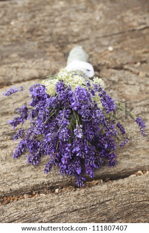 Bunch Lavender Flowers Wedding On Old Stock Photo 111807407 ...