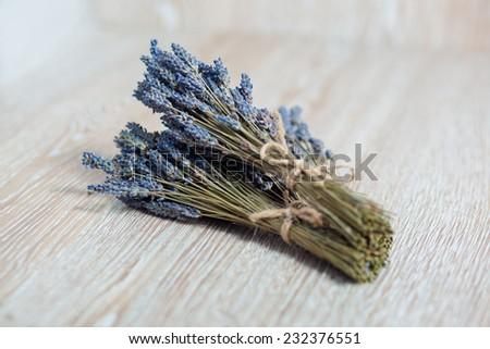 Bunch of lavender flowers on a wood table