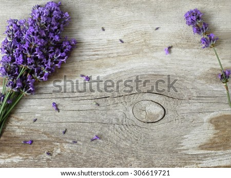 Bunch of lavender flowers on a wooden background. Floral border or frame with lavender. - stock photo