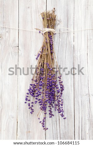 Bunch of Lavender on rustic wood - stock photo