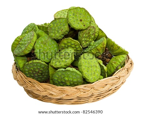 Bunch of lotus seeds in basket