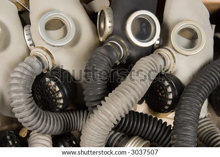 bunch of military gas-masks