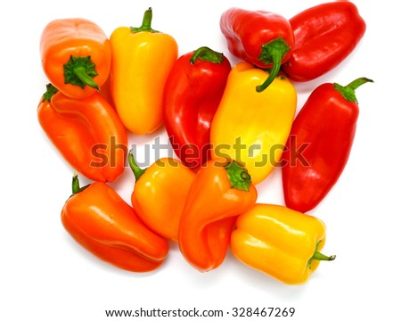 bunch of mini peppers isolated on white