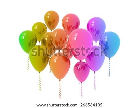 Bunch of multi color balloons isolated on white background  - stock photo