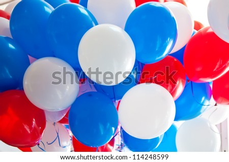 bunch of multi-colored balloons - stock photo