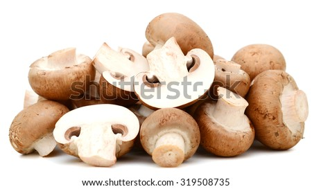 bunch of mushroom isolated on white  - stock photo