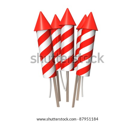 Bunch of New Year fireworks rockets - stock photo