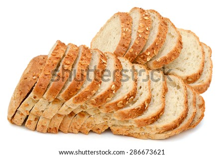 bunch of oat bread slices isolated on white