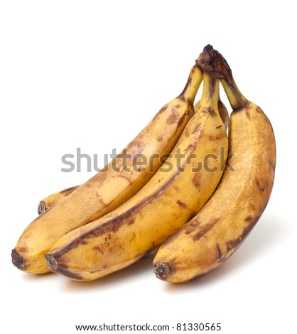 bunch of old bananas on white background - stock photo