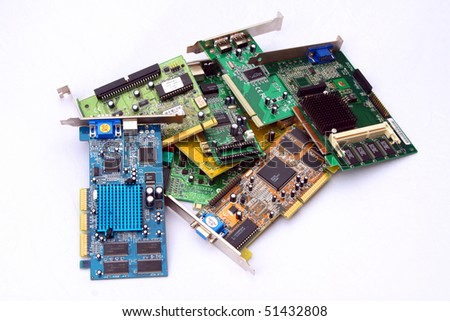Bunch of old PCI cards over white background - stock photo
