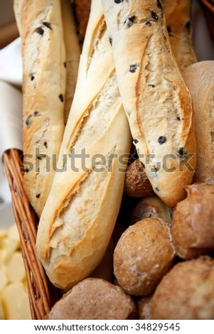 Bunch of Olive Ciabattas and buns - stock photo