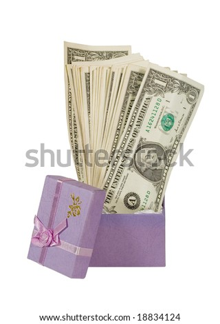 Bunch of one-dollar bills in a small gift box (isolated on white) - stock photo