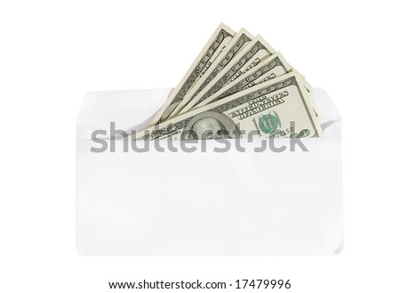 Bunch of one-hundred dollar bills in an envelope (isolated on white) - stock photo