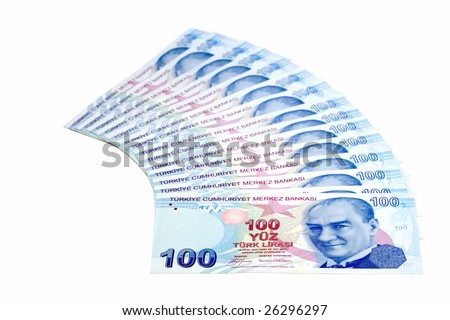 Bunch of one-hundred Lira bills (isolated on white) - stock photo
