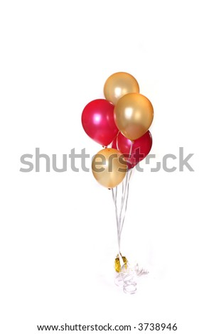 Bunch of Party Balloons Isolated on White - stock photo