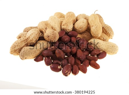 bunch of peanuts, isolated on white background