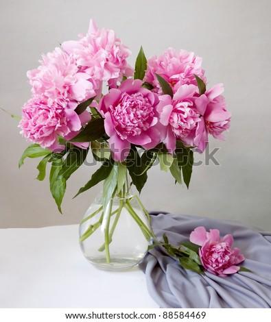 Bunch of peonies in vase - stock photo