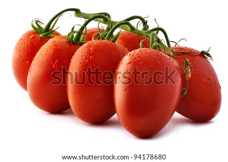 Bunch of Piccadilly tomatoes on white background. - stock photo