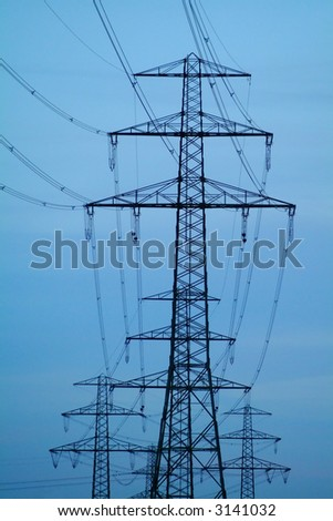 bunch of power poles - stock photo