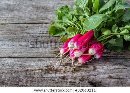 Bunch of radish on wooden table, fresh organic vegetables grown in ecological garden - stock photo
