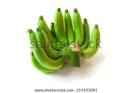Bunch of raw bananas on white background