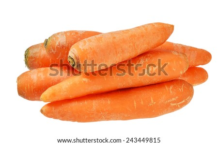 Bunch of raw carrots. Isolated on white background. - stock photo