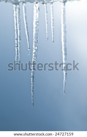 Bunch of real icicle in close focus - stock photo