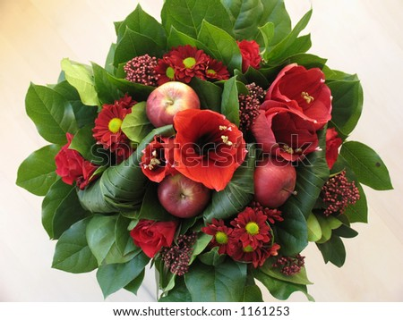 Bunch of red flowers seen from above. - stock photo