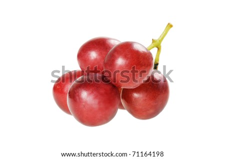 Bunch of red grapes isolated on white - stock photo