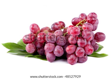 Bunch of red grapes isolated on white background - stock photo
