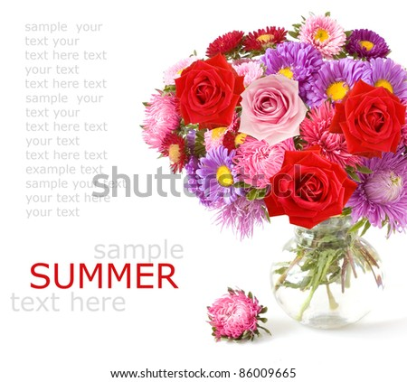 Bunch of red roses and asters in vase isolated on white with sample text - stock photo