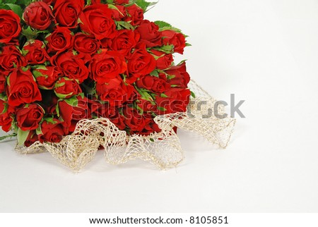 Bunch of red roses isolated on the white background